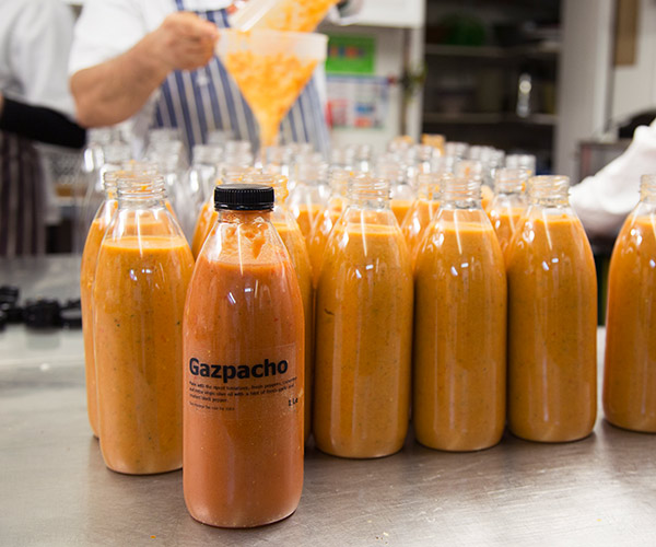 Bottles of freshly made Gazpacho made in Parsons Green, Bayley & Sage store