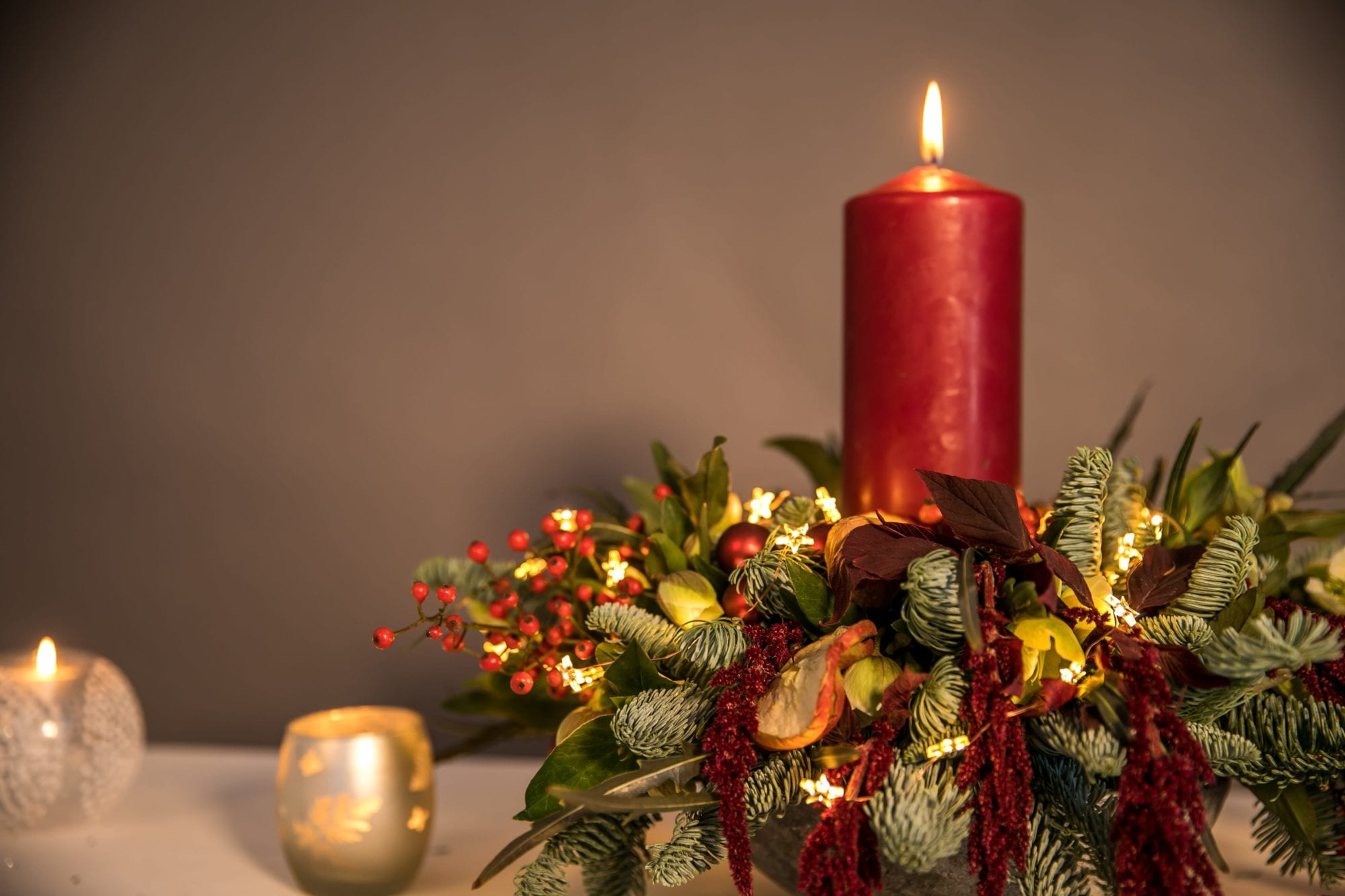 Christmas Wreaths And Table Arrangements